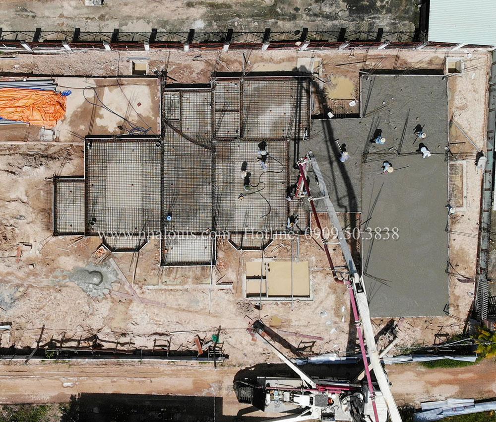 Đổ bê tông tầng trệt biệt thự Nhật Bản