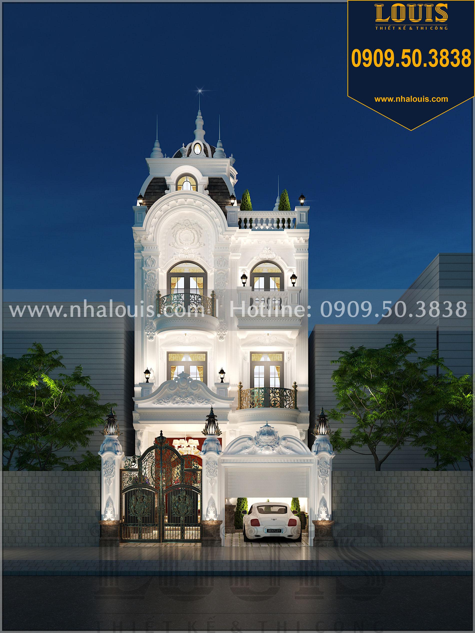 Phối cảnh mặt tiền và cổng rào thiết kế biệt thự 4 phòng ngủ tại Long An