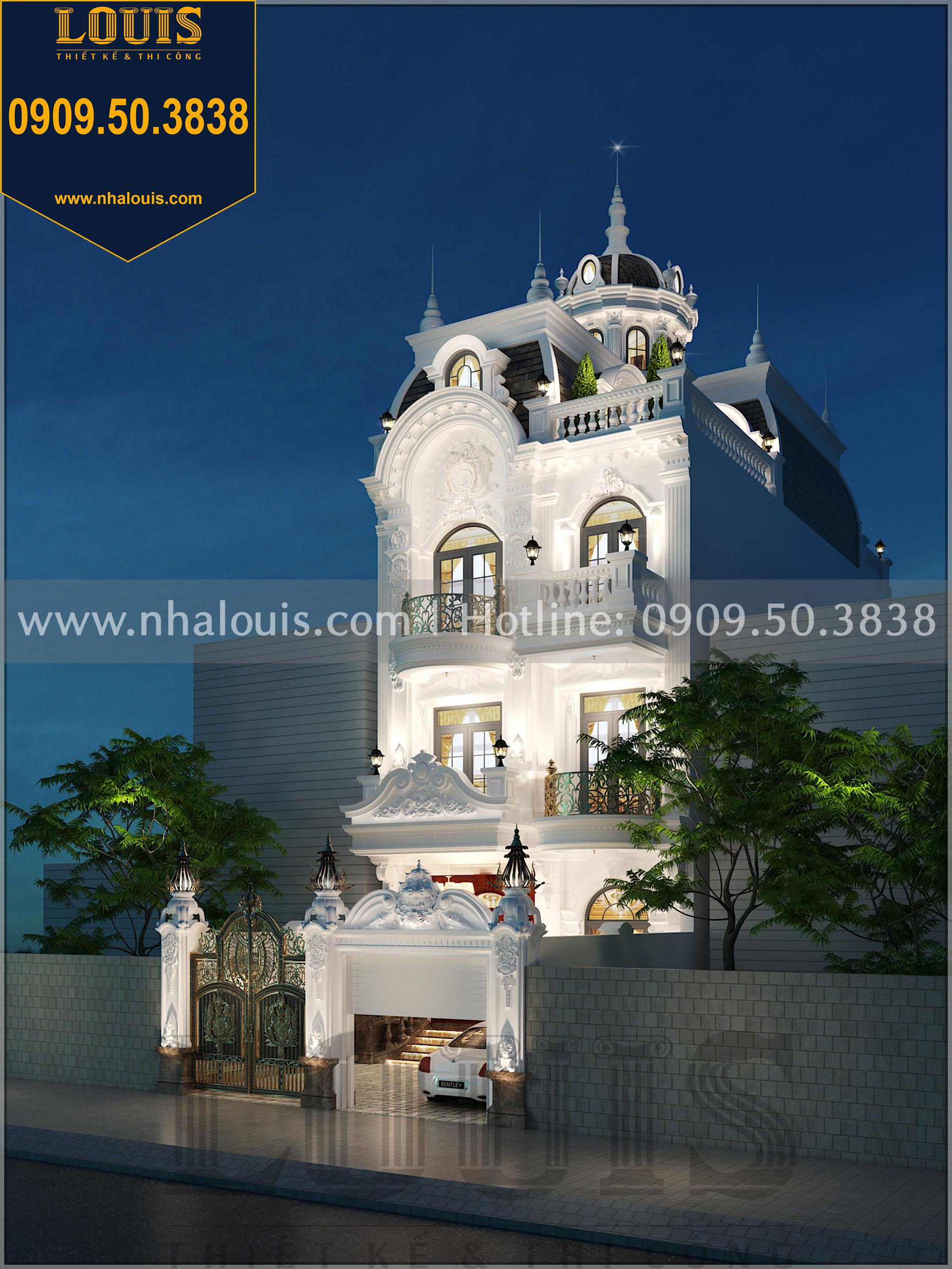 Thiết kế biệt thự 4 phòng ngủ có mái vòm cực chất tại Long An