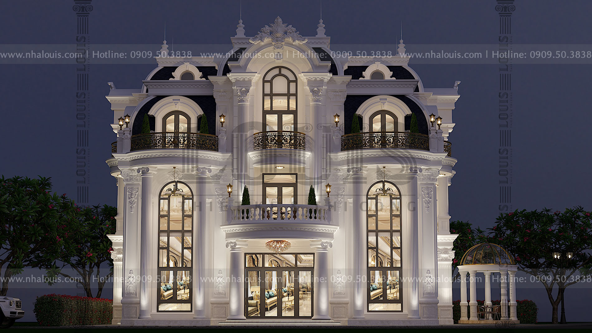 Mặt tiền thiết kế cải tạo biệt thự 3 tầng cổ điển