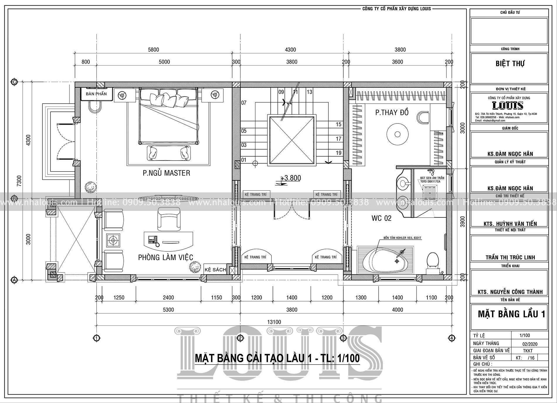mặt bằng lầu 1 thiết kế nội thất biệt thự tân cổ điển tại quận 2