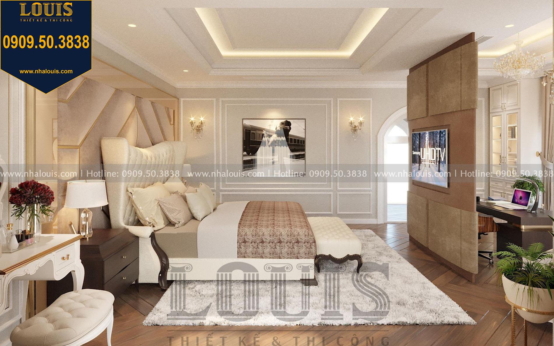 phòng ngủ master thiết kế nội thất biệt thự tân cổ điển tại quận 2