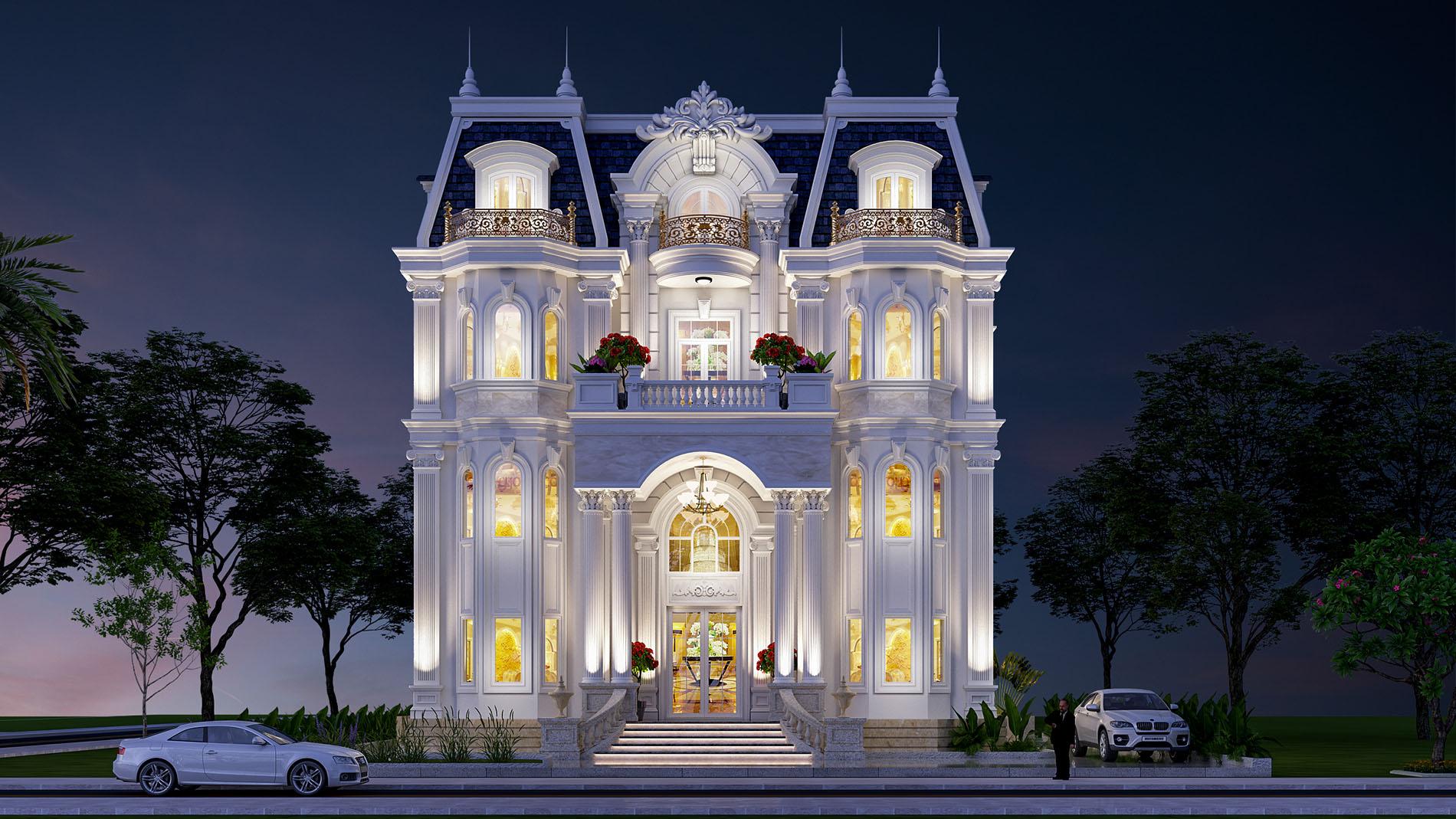 kiến trúc mẫu biệt thự 4 tầng đẹp tại vũng tàu