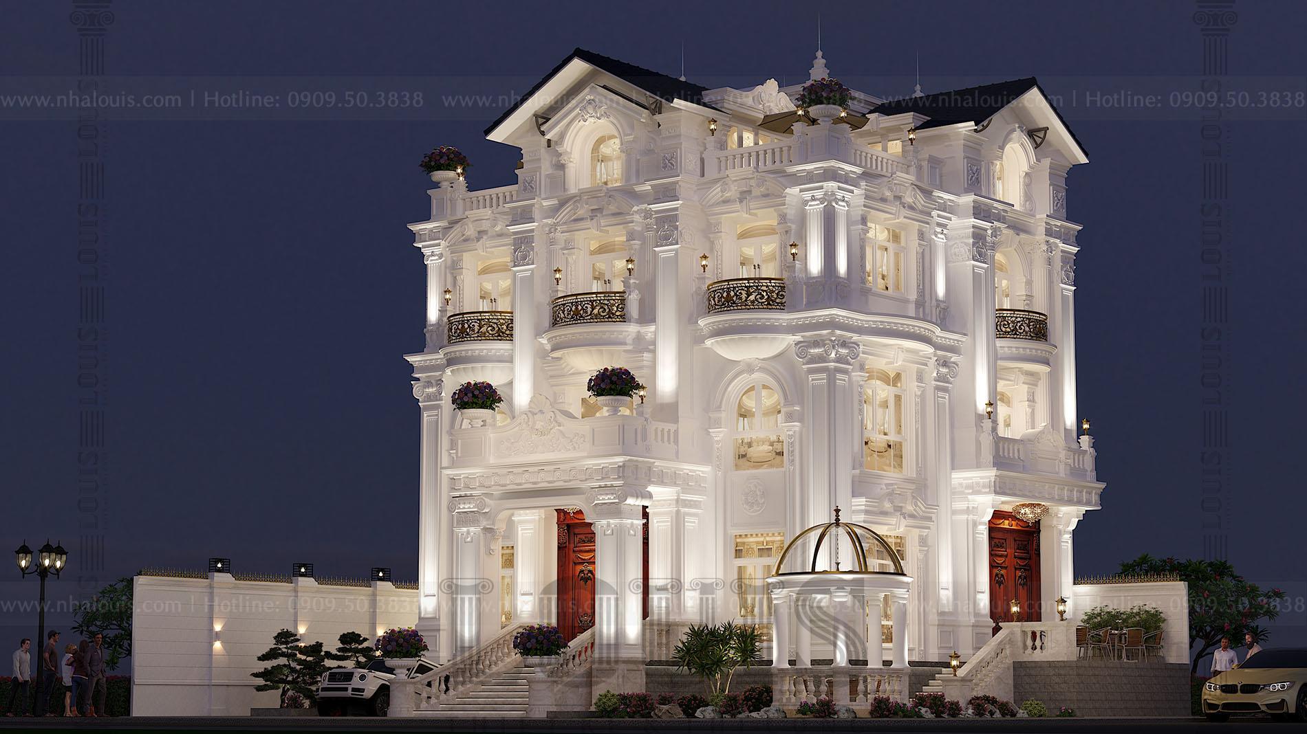 thiết kế biệt thự cổ điển 5 tầng sang trọng tại Bình Tân
