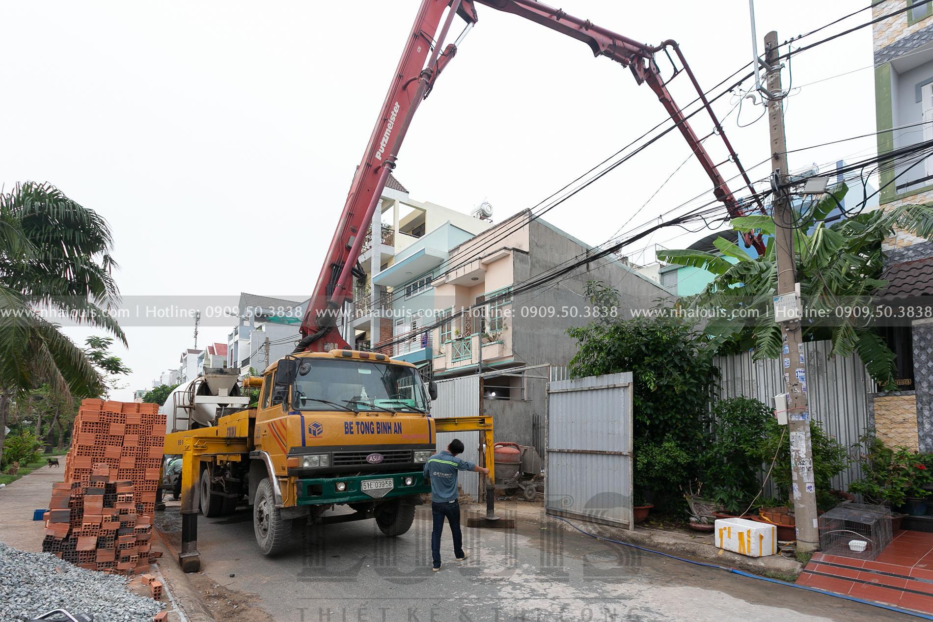 Thi công đổ bê tông móng nhà phố ngang 5m cao 4 tầng tại Quận 8