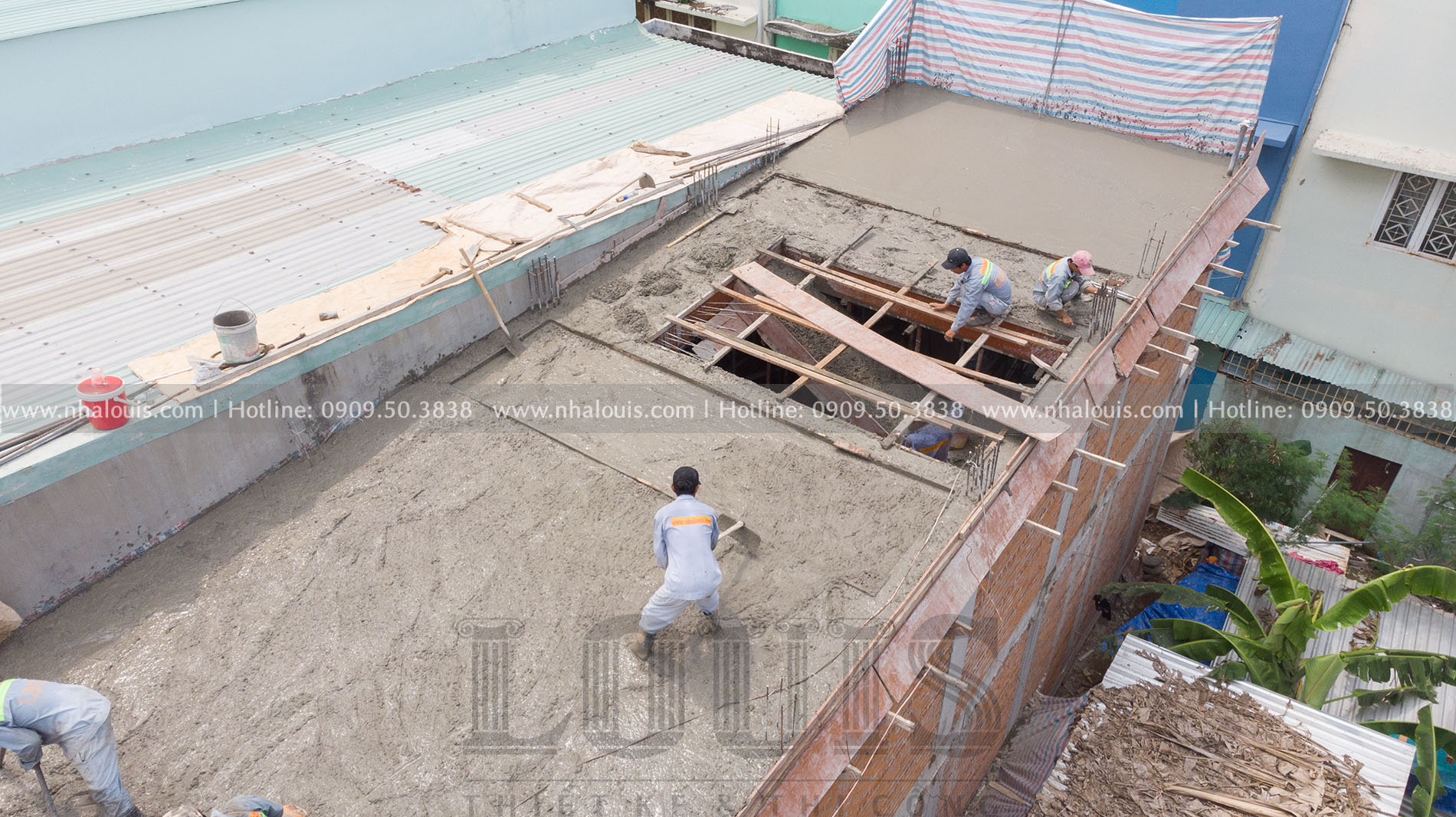 Thi công đổ bê tông sàn tầng 2