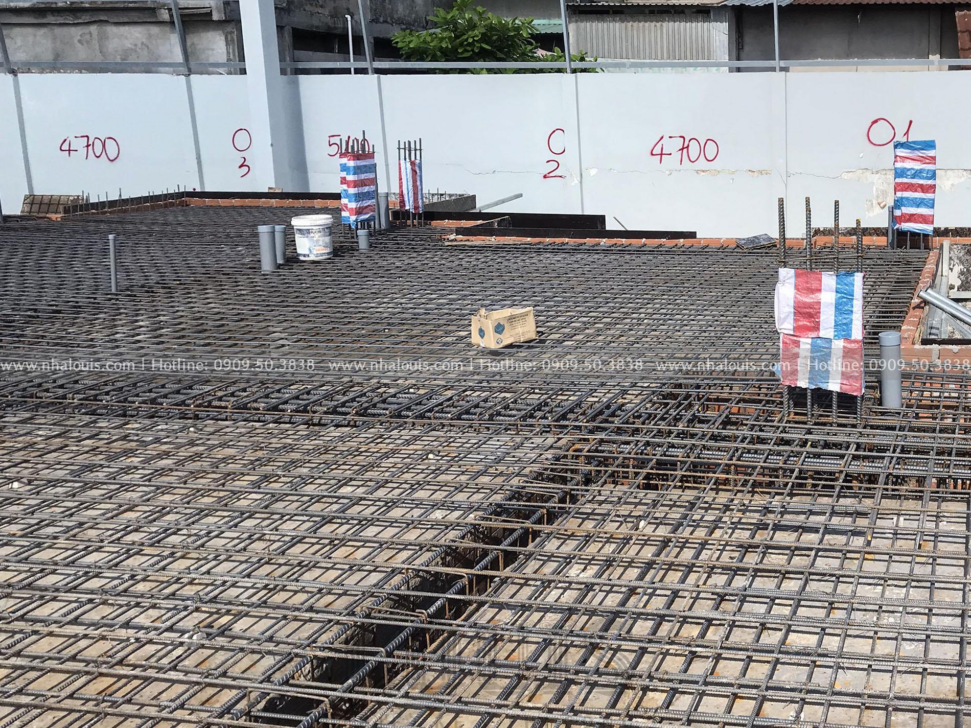 Đổ bê tông sàn tầng trệt biệt thự 4 tầng Đồng Tháp