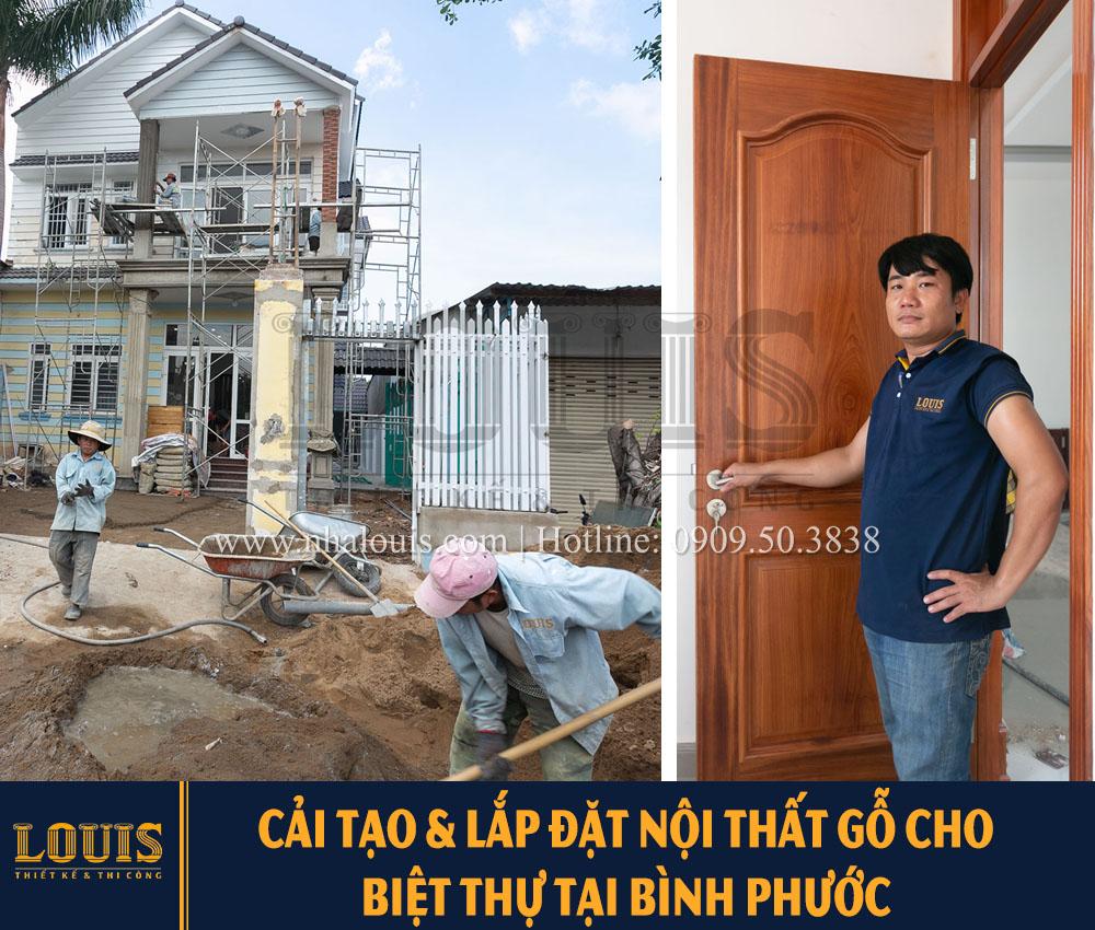 Thi công cải tạo và lặp đặt bộ cửa gỗ gõ đỏ cho biệt thự tại Bình Phước