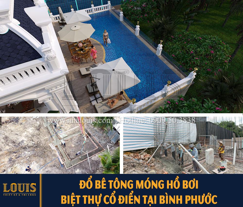 Đổ bê tông móng hồ bơi biệt thự tại Bình Phước [Video]