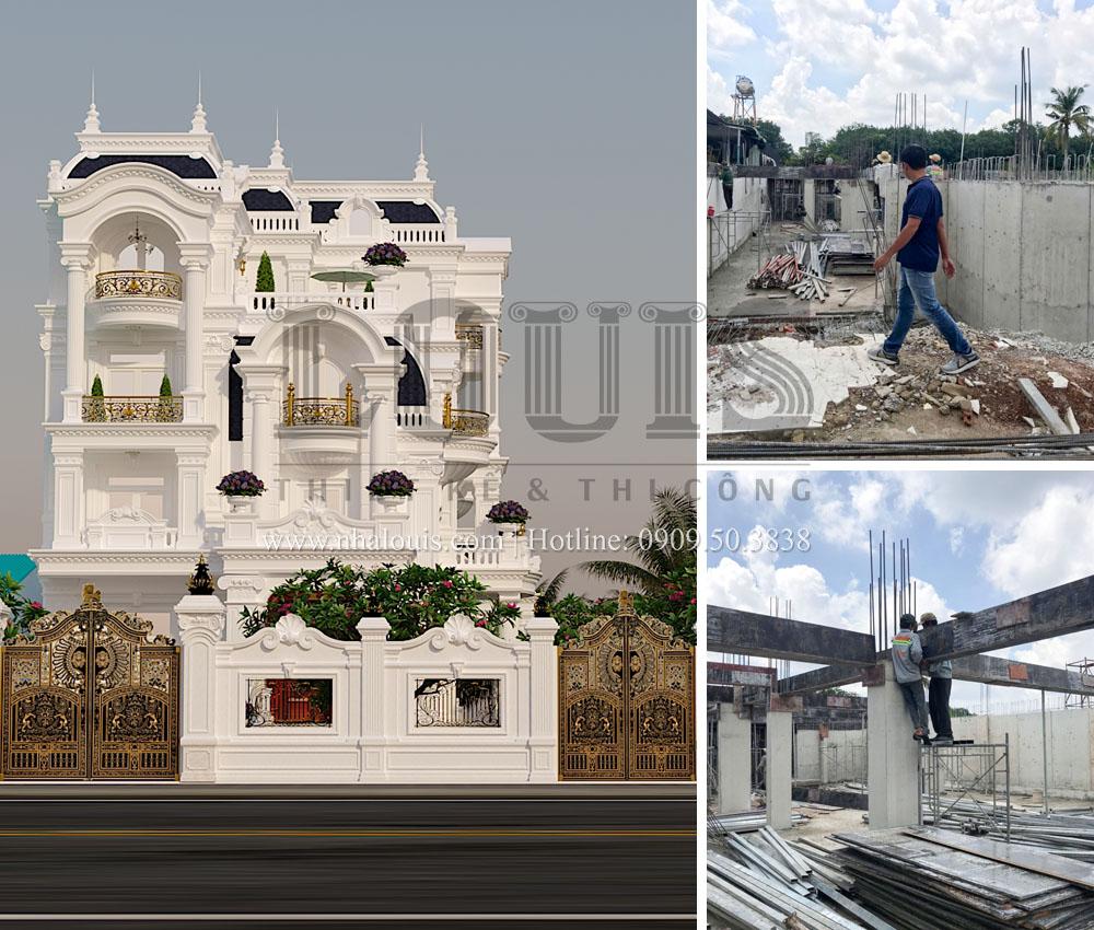 Thi công cốp pha tầng trệt biệt thự cổ điển Châu Âu tại Bình Phước