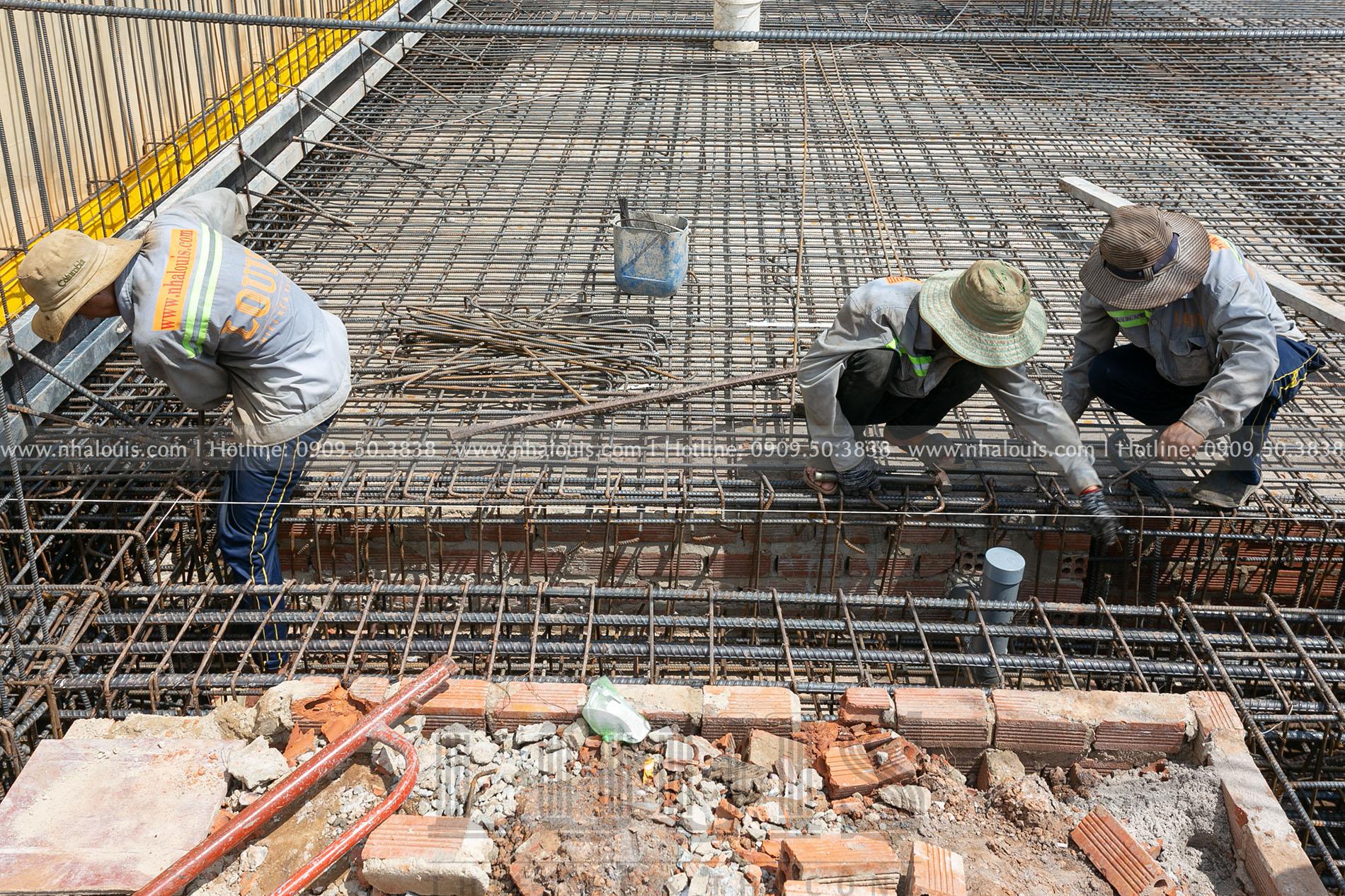 thi công sắt sàn tầng hầm biệt thự cổ điển Bình Phước
