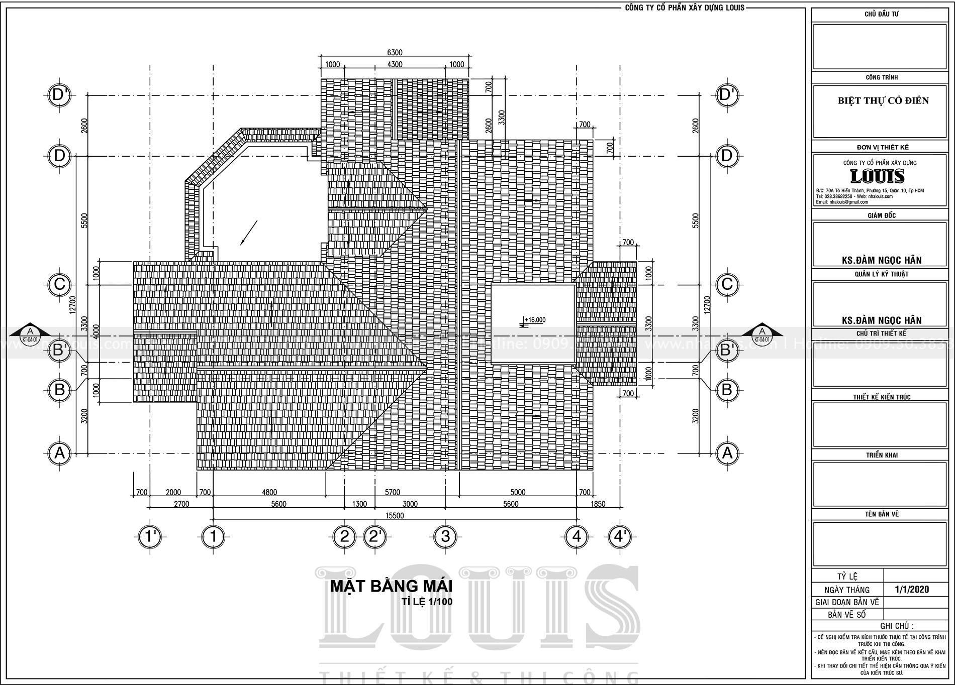 thiết kế biệt thự 4 tầng tân cổ điển đẹp tại bến tre
