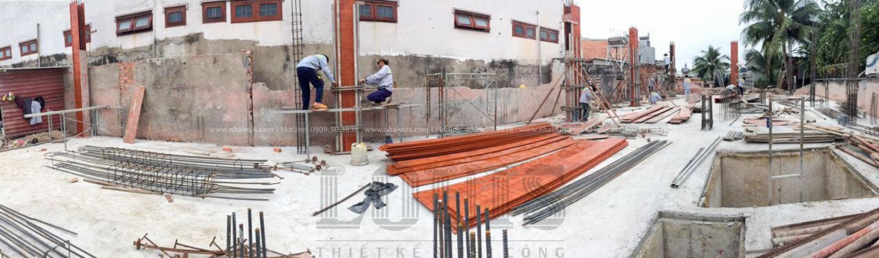 thi công sắt và cốp pha cột tầng trệt