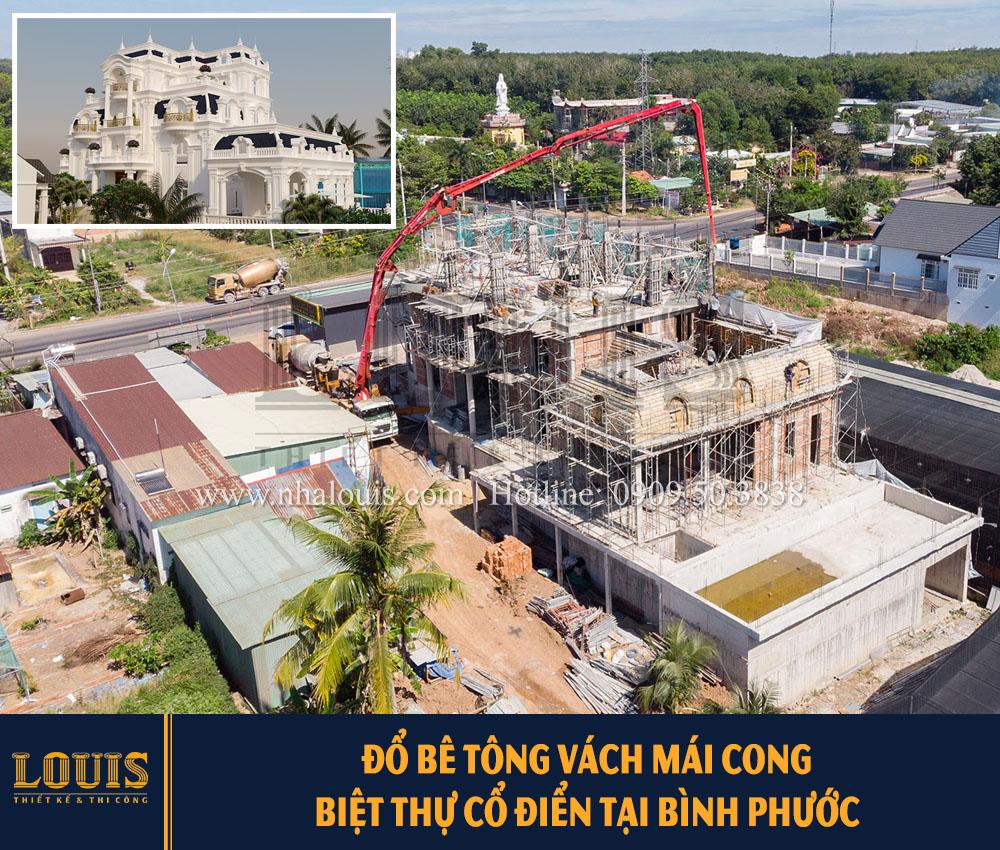 Đổ bê tông vách mái cong biệt thự cổ điển Bình Phước [Video]