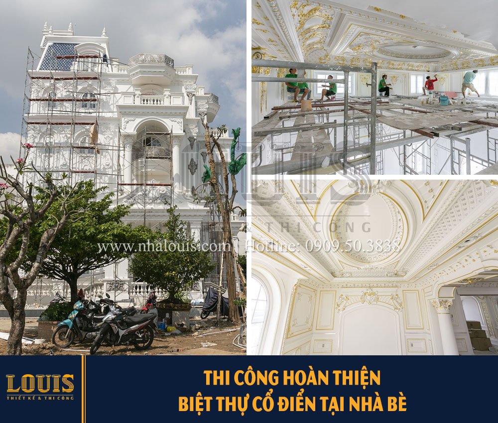 Thi công hoàn thiện biệt thự cổ điển tại Nhà Bè [Video]