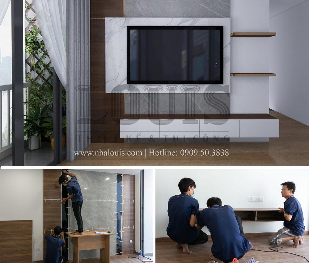Lắp đặt nội thất gỗ cho căn hộ 3 phòng ngủ Eco Green Sài Gòn tại Quận 7
